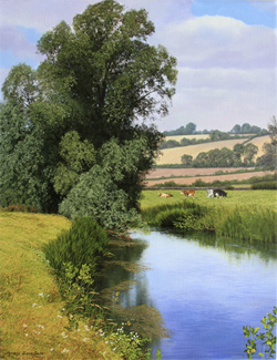 Michael James Smith, Signed limited edition print, Cattle on the Riverbank Large image. Click to enlarge