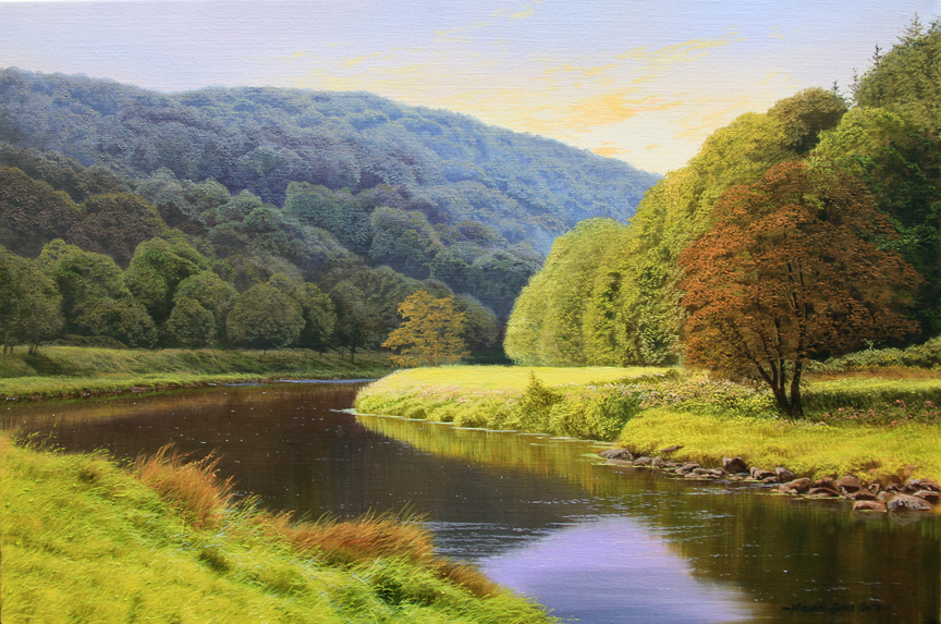 Michael James Smith, Signed limited edition print, Evening in the Wye Valley. Click to enlarge