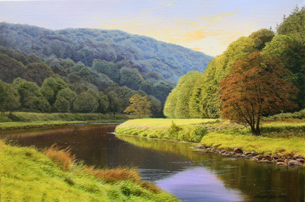 Michael James Smith, Signed limited edition print, Evening in the Wye Valley Signature image. Click to enlarge