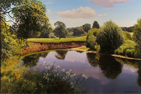 Michael James Smith, Original oil painting on canvas, The river Wye, Wales