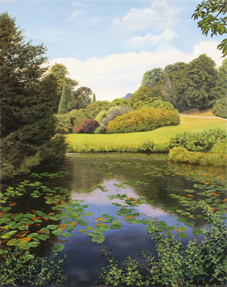 Michael James Smith, 'Lily Pond, Scotney Castle' Oil on canvas
