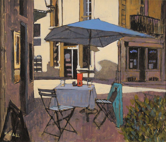 Mike Hall, Original acrylic painting on board, Café Table Without frame image. Click to enlarge