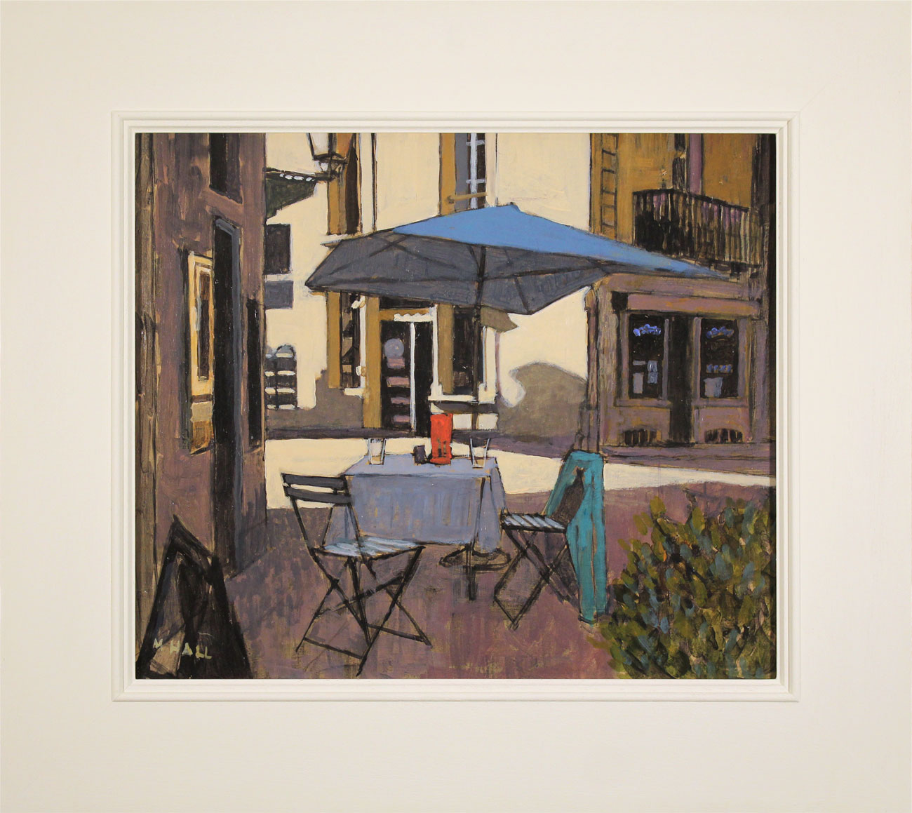Mike Hall, Original acrylic painting on board, Café Table. Click to enlarge