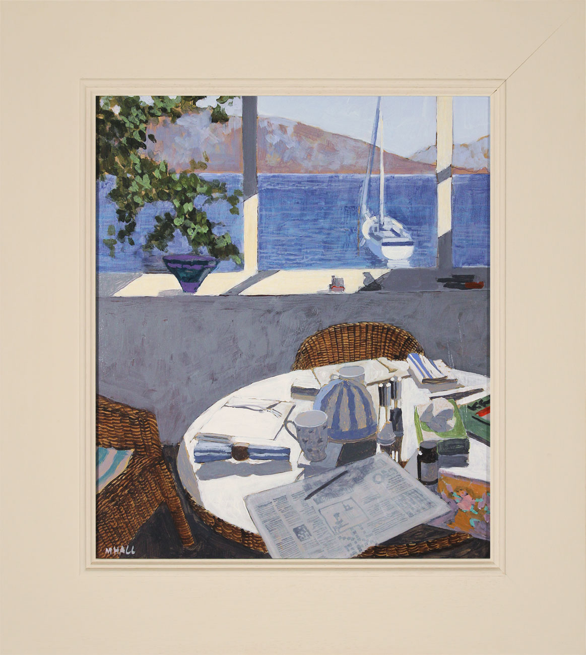 Mike Hall, Original acrylic painting on board, Deserted Table III, click to enlarge
