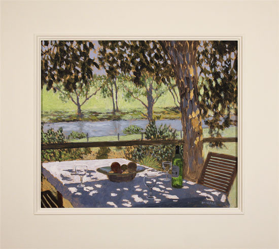 Mike Hall, Original acrylic painting on board, Glass of Wine by the River