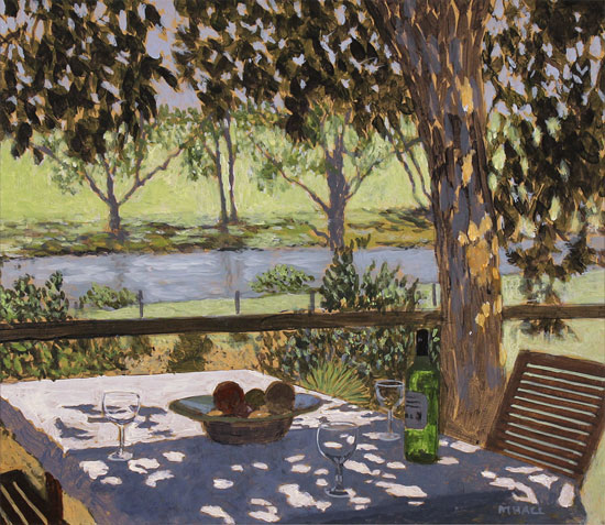 Mike Hall, Original acrylic painting on board, Glass of Wine by the River No frame image. Click to enlarge