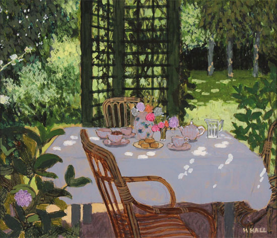 Mike Hall, Original acrylic painting on board, Table Set for Tea Without frame image. Click to enlarge