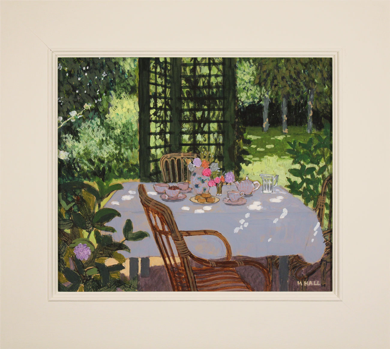 Mike Hall, Original acrylic painting on board, Table Set for Tea, click to enlarge