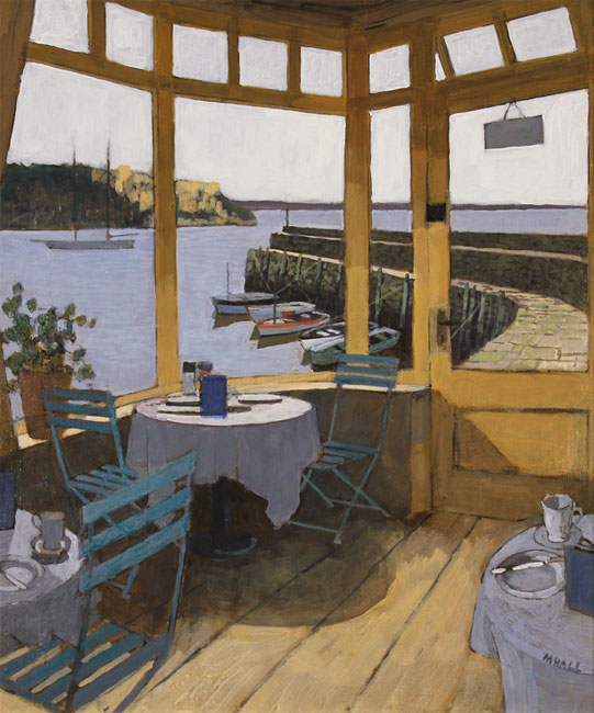Mike Hall, Original acrylic painting on board, Café by the Harbour Without frame image. Click to enlarge