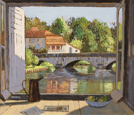Mike Hall, Original acrylic painting on board, View of the Bridge Brantôme Without frame image. Click to enlarge