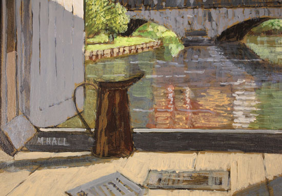 Mike Hall, Original acrylic painting on board, View of the Bridge Brantôme Signature image. Click to enlarge