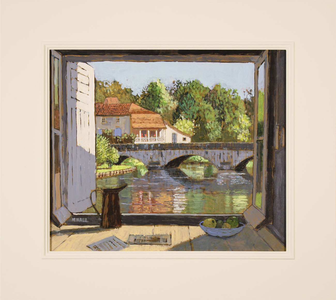 Mike Hall, Original acrylic painting on board, View of the Bridge Brantôme. Click to enlarge