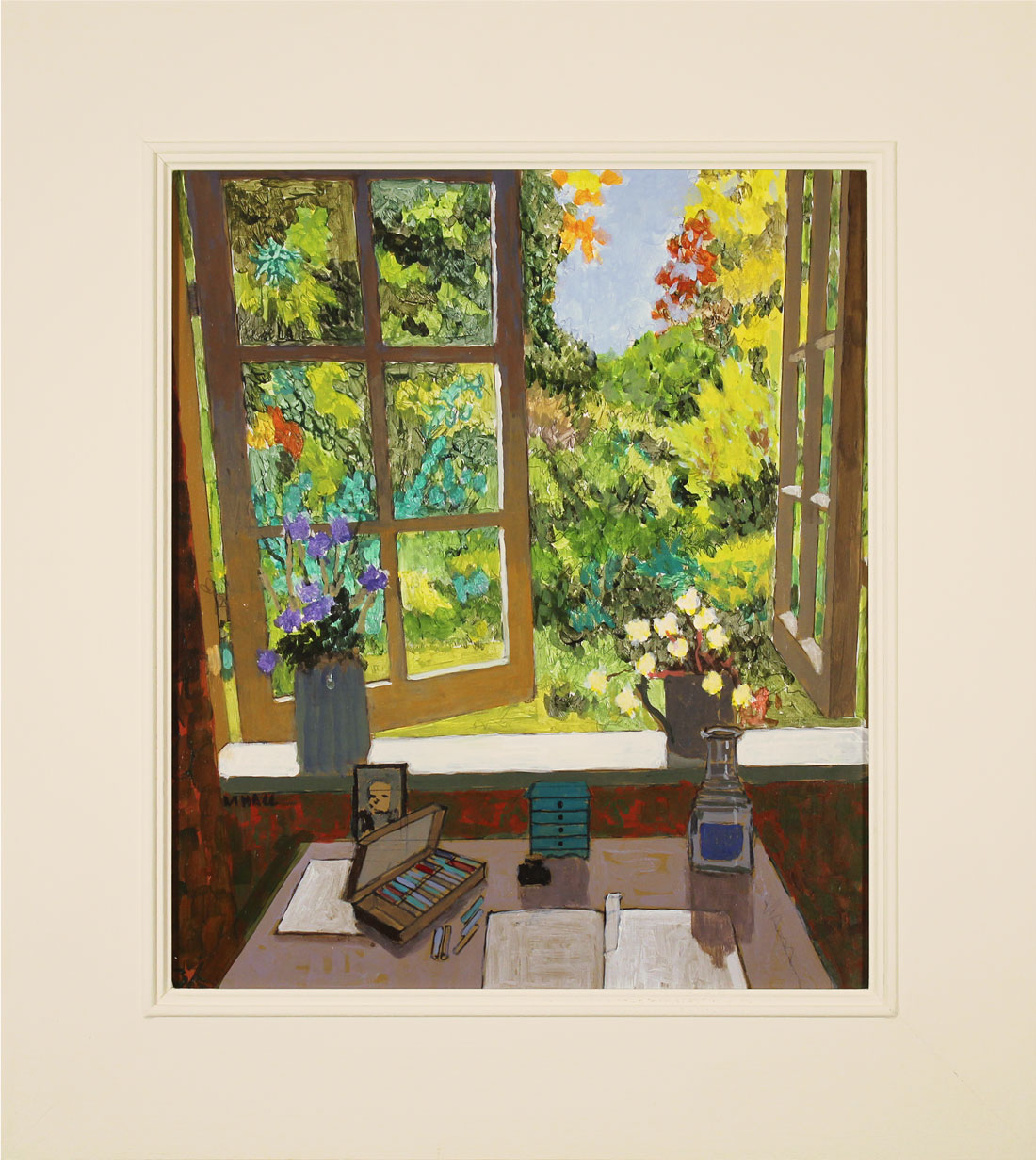 Mike Hall, Original acrylic painting on board, View of Summer Garden, click to enlarge