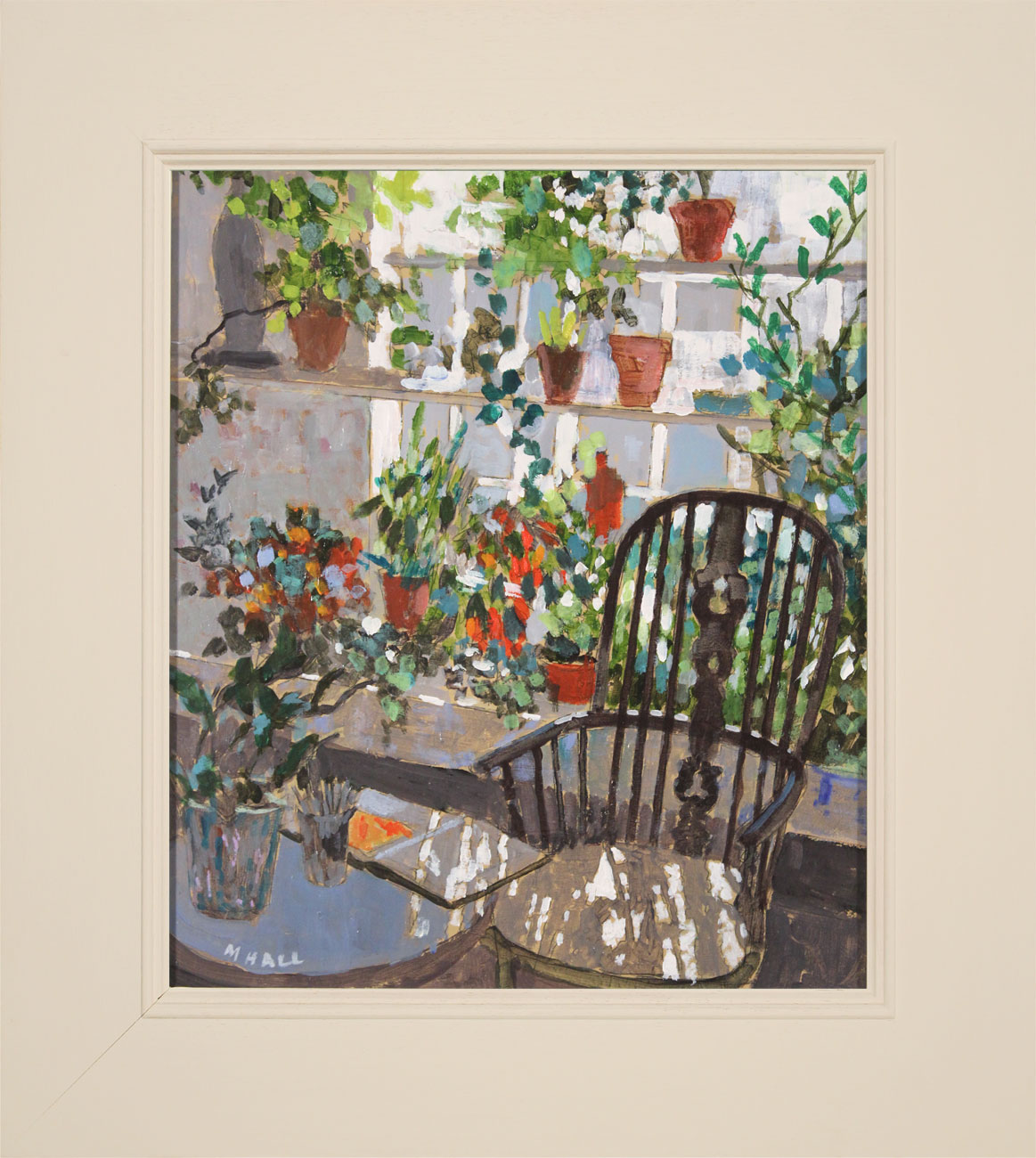 Mike Hall, Original acrylic painting on board, Chair in the Conservatory , click to enlarge