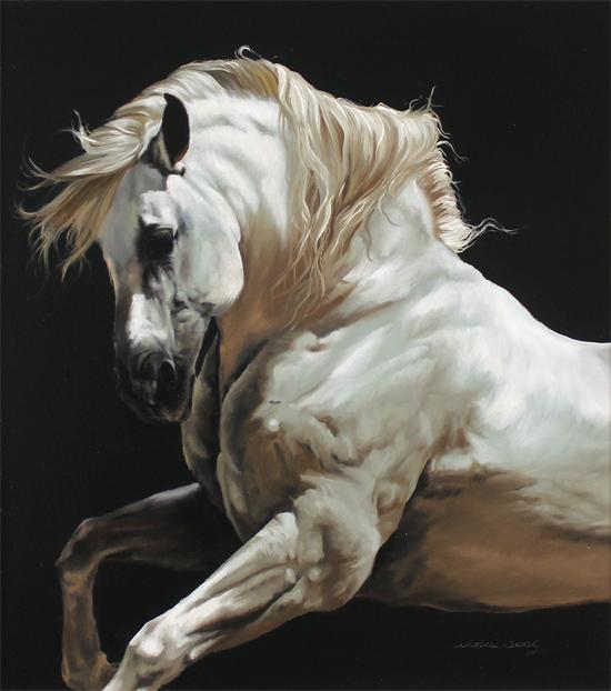 Natalie Stutely, Original oil painting on panel, Andalusian Stallion