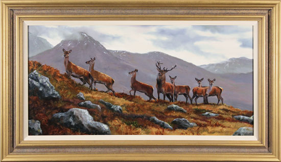 Natalie Stutely, Original oil painting on panel, Stag and Does, Scottish Highlands