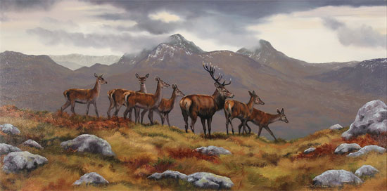 Natalie Stutely, Original oil painting on panel, Stag and Hinds, Scottish Highlands No frame image. Click to enlarge