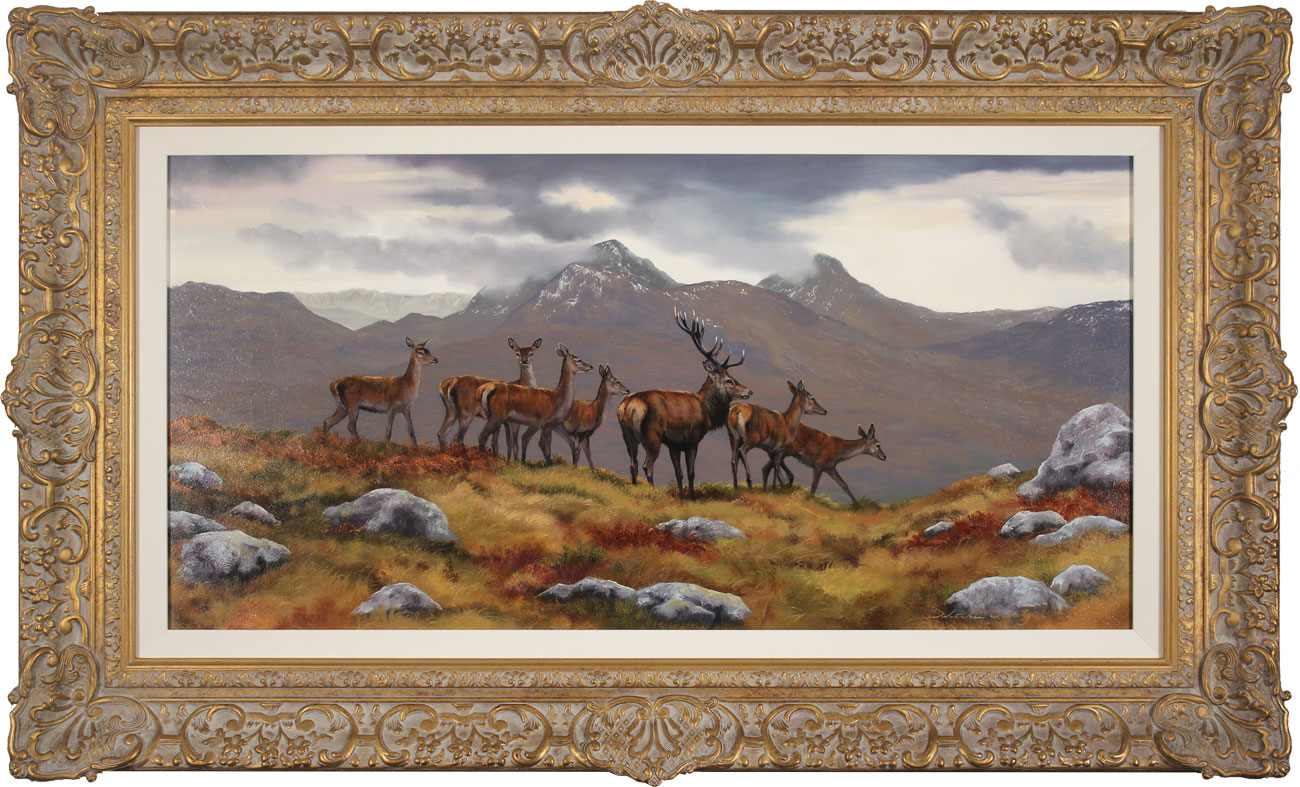 Natalie Stutely, Original oil painting on panel, Stag and Hinds, Scottish Highlands. Click to enlarge