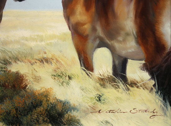 Natalie Stutely, Original oil painting on panel, Moorland Ponies