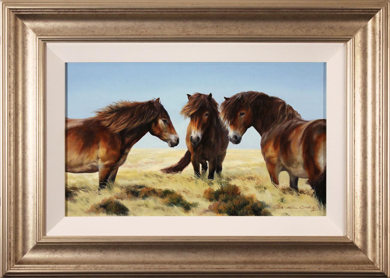 Natalie Stutely, Original oil painting on panel, Moorland Ponies, click to enlarge