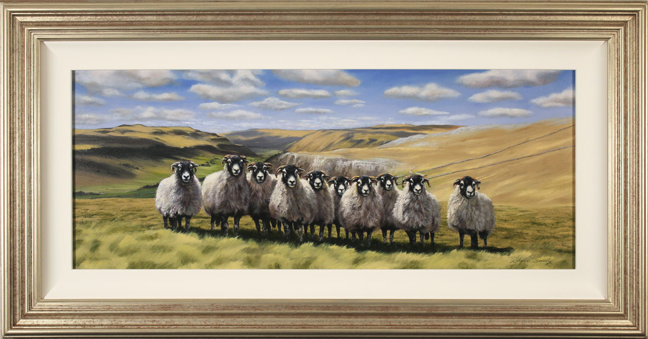 Natalie Stutely, Original oil painting on panel, Swaledale Flock, click to enlarge