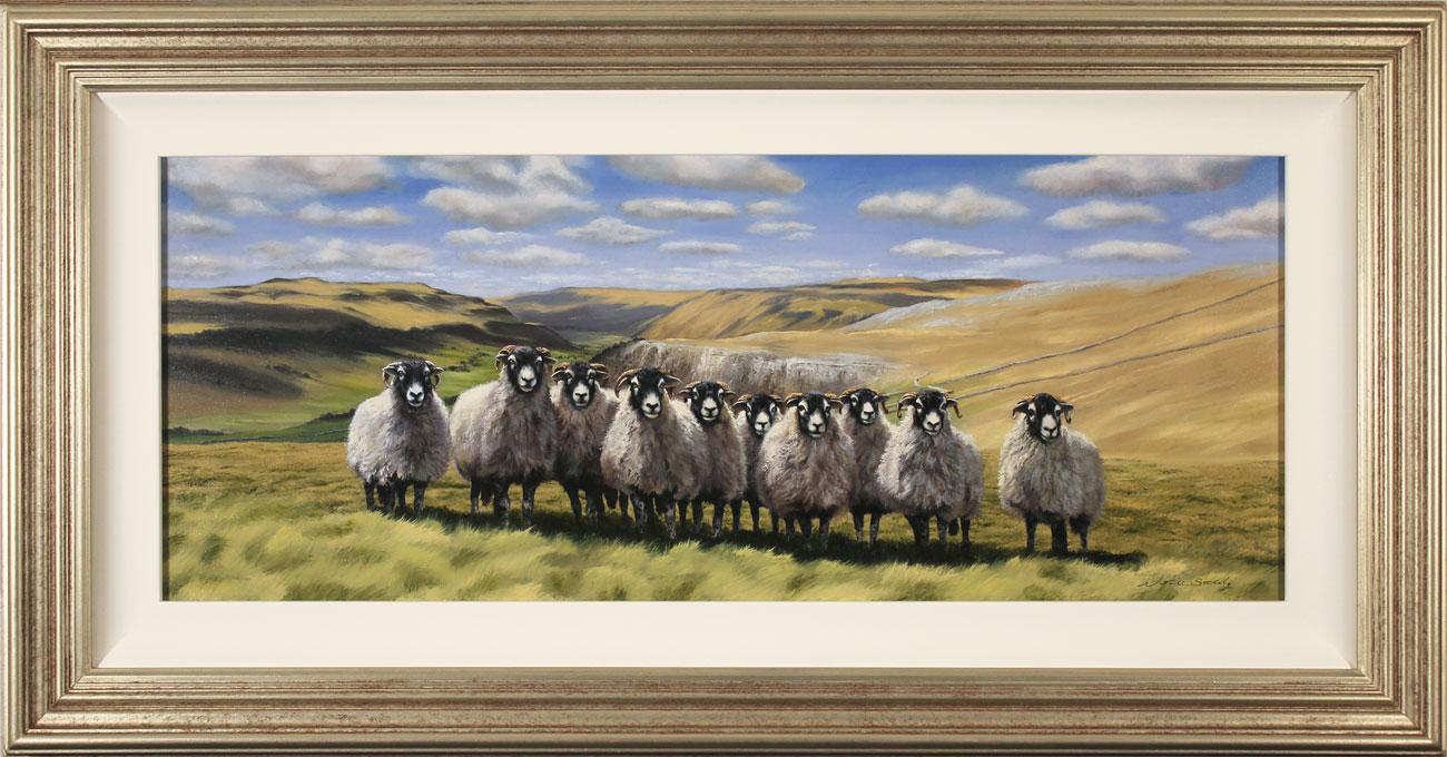 Natalie Stutely, Original oil painting on panel, Swaledale Flock. Click to enlarge