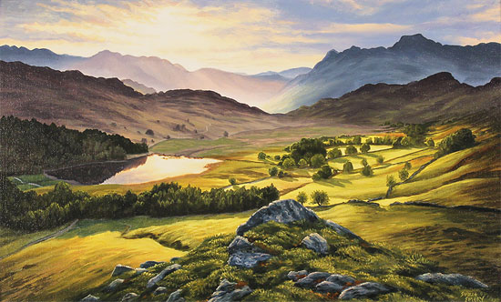 Suzie Emery, Original acrylic painting on board, Langdale Pikes, Lake District Without frame image. Click to enlarge