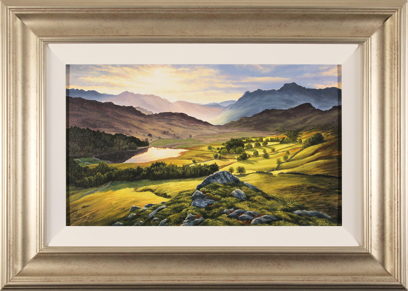 Suzie Emery, Original acrylic painting on board, Langdale Pikes, Lake District, click to enlarge