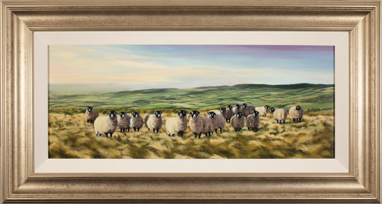 Natalie Stutely, Original oil painting on panel, Swaledale Flock in the Cleveland Way