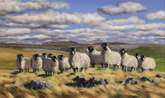 Natalie Stutely, Original oil painting on panel, Flock to Penyghent Without frame image. Click to enlarge