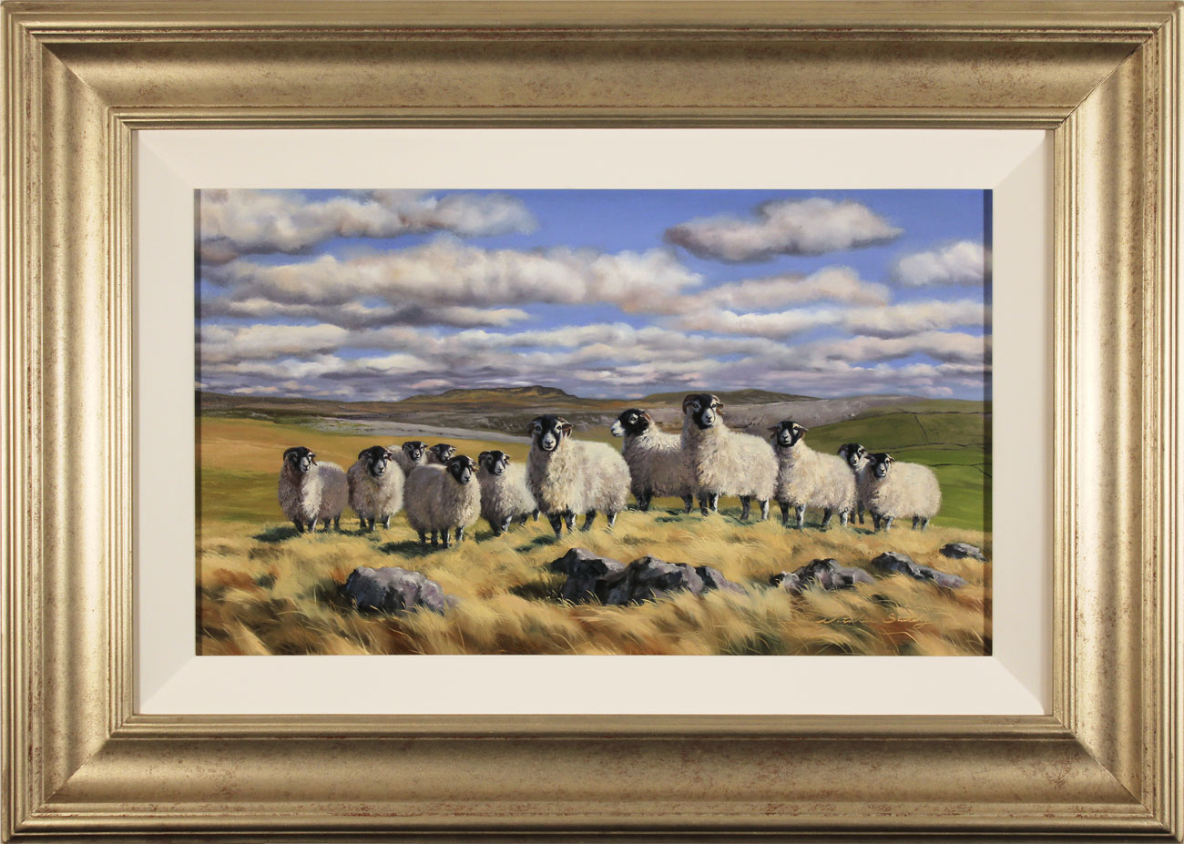 Natalie Stutely, Original oil painting on panel, Flock to Penyghent, click to enlarge