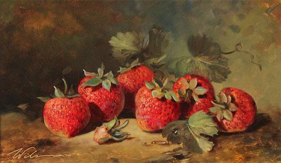 Paul Wilson, Original oil painting on panel, Handpicked Strawberries