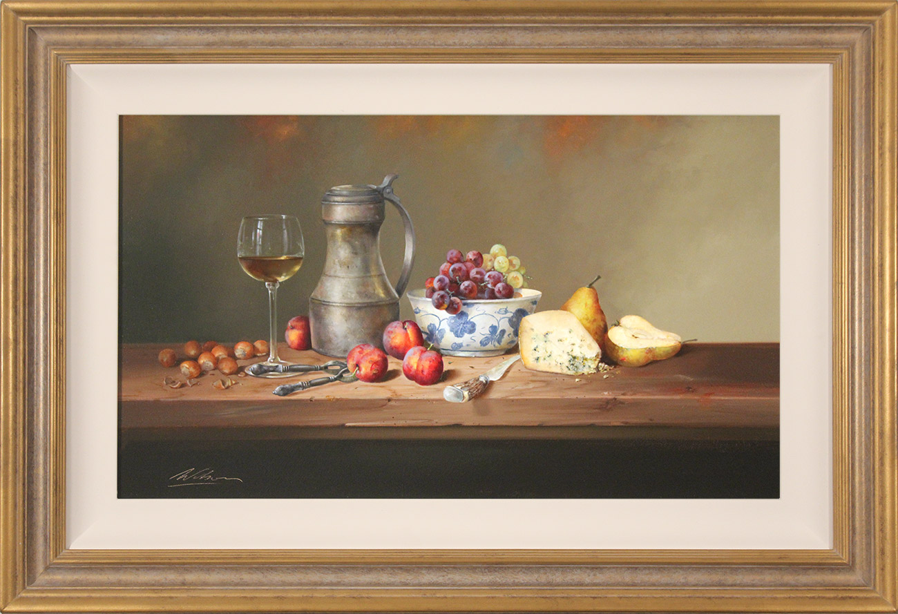 Paul Wilson, Original oil painting on panel, Still Life with Cheese, Fruit and Wine, click to enlarge