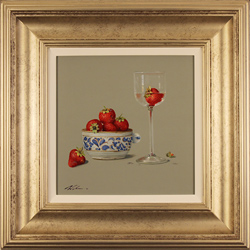 Paul Wilson, Original oil painting on panel, Strawberries