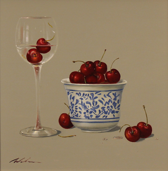 Paul Wilson, Original oil painting on panel, Cherries Without frame image. Click to enlarge