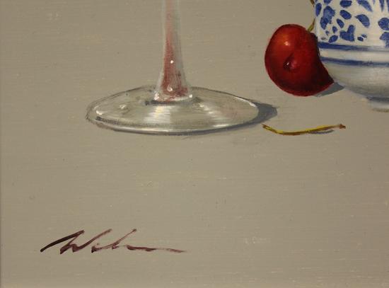 Paul Wilson, Original oil painting on panel, Cherries Signature image. Click to enlarge
