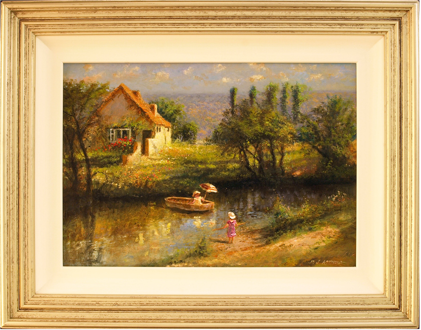 Paul Attfield, Original oil painting on panel, Across the Stream. Click to enlarge