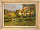 Paul Attfield, Original oil painting on panel, In the Apple Orchard