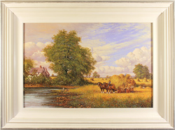 Paul Morgan, Original oil painting on panel, Haymaking