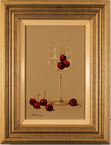 Paul Wilson, Original oil painting on panel, Wine and Cherries. Click to enlarge