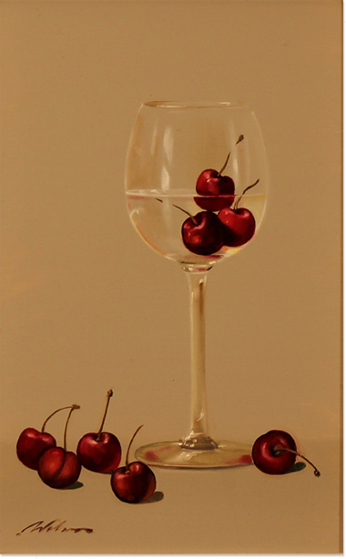 Paul Wilson, Original oil painting on panel, Wine and Cherries Without frame image. Click to enlarge