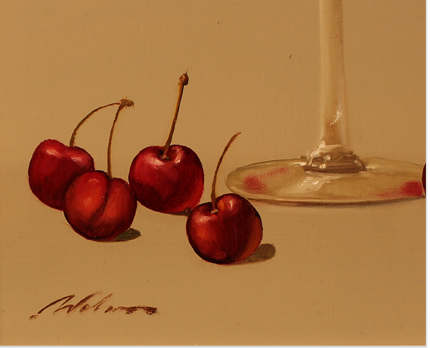 Paul Wilson, Original oil painting on panel, Wine and Cherries Signature image. Click to enlarge