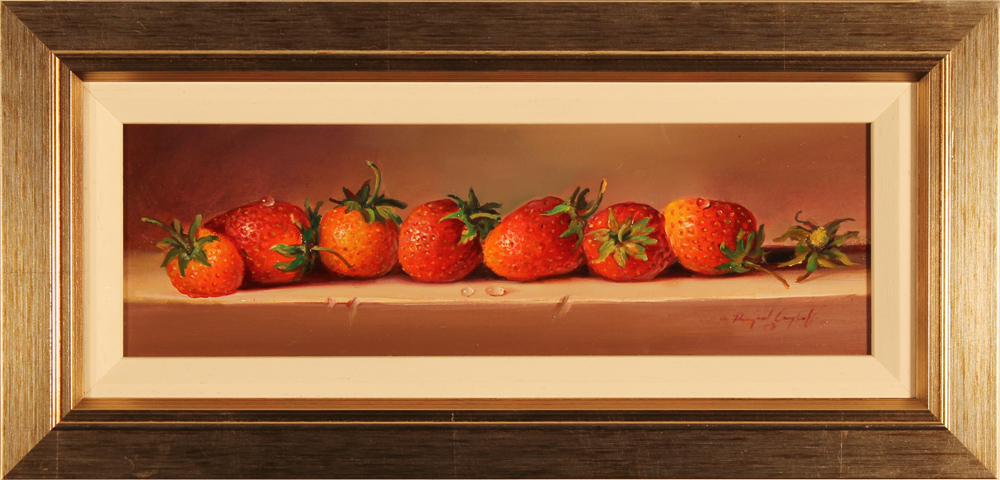 Paul Wilson, Original oil painting on panel, Strawberries. Click to enlarge