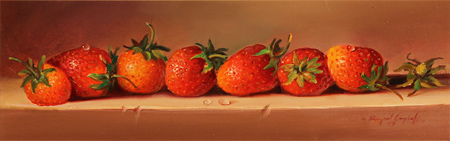Paul Wilson, Original oil painting on panel, Strawberries Without frame image. Click to enlarge