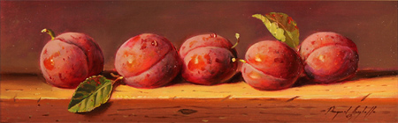 Paul Wilson, Original oil painting on panel, Plums Without frame image. Click to enlarge