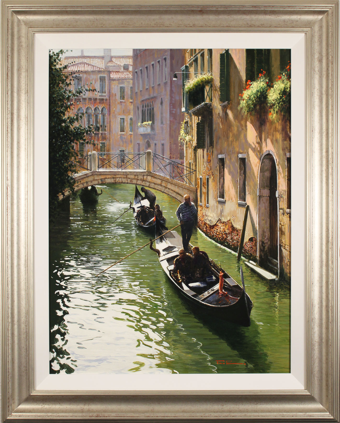Raffaele Fiore, Original oil painting on canvas, Venetian Gondolas , click to enlarge