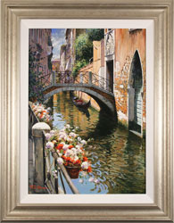 Raffaele Fiore, Original oil painting on canvas, Venetian Canal