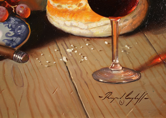 Raymond Campbell, Original oil painting on panel, Cellar Celebrations Signature image. Click to enlarge