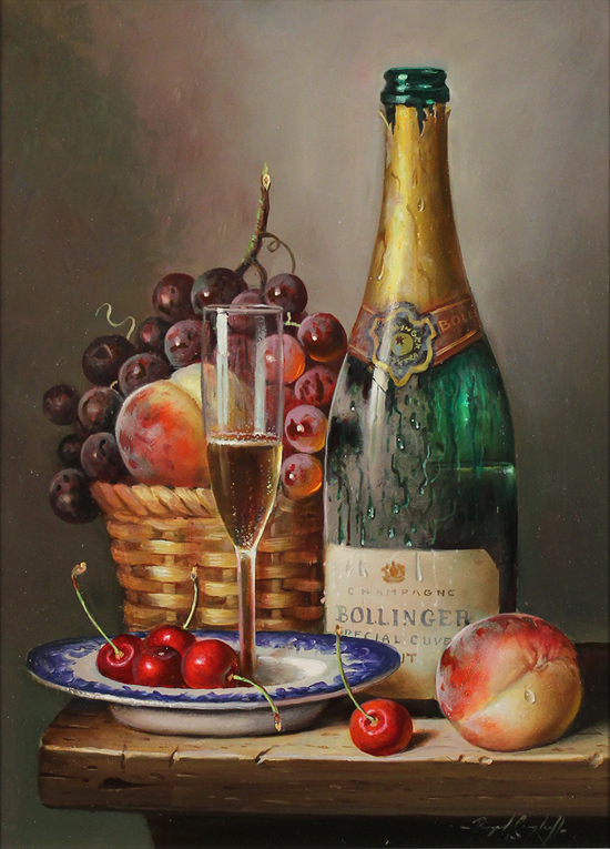 Raymond Campbell, Original oil painting on panel, Bollinger Bounty