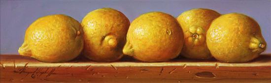 Raymond Campbell, Original oil painting on panel, Lemons